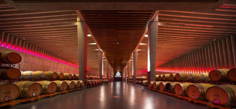 Sala barricas Vino Bodega Portia Norman Foster