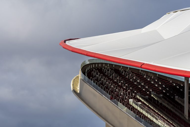 Estadio Wanda Metropolitano Atletico Madrid detalle gradas y cubierta