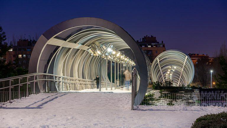 Puente Perrault Madrid con nieve